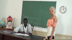 Bald headed student Joslyn James is fucked by ebony teacher