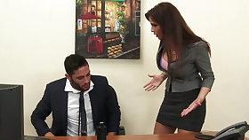 Downcast milf Mr Big brass Syren De Mer exploits employee for dick hd