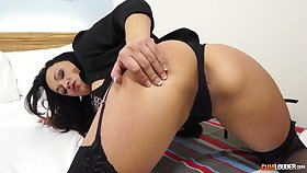 Lewd milf in X lingerie and stockings Sara May is ornamental dirty sex and cum load