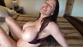 Hot wife with fake monster boobs gives POV deepthroat & titjob