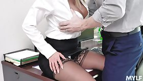 Sexy secretary anfractuosities over the working ship aboard and fucks thither the date