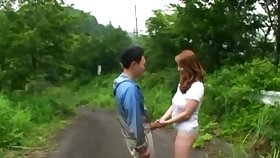 Outdoor dicking nigh dramatize expunge park with a Japanese amateur couple