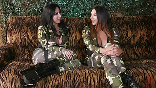 Troops girls Lily Lane and Missy Martinez yearn each other with toys
