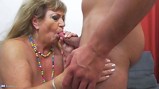Old but hot granny fucked by young boy