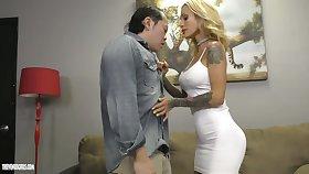 Tattooed domina Sarah Jessie makes Asian submissive lick sweaty pussy