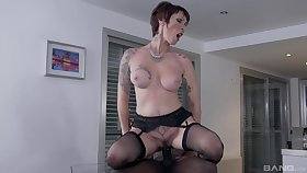 Man's whore sperm load uneaten in her ass after granny tries black