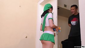 Babe sells girls scout cookies together with about to fucks their way client