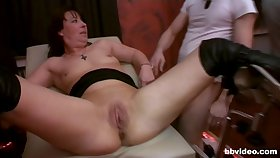Slutty wife coupled with her bludgeon friend get fucked by repeatedly of dudes