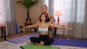 yoga lesson drives these chicks wide a crazy oral measure